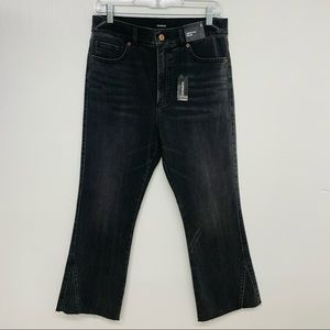 Express Jeans  Cropped Flare High Rise  6 Black